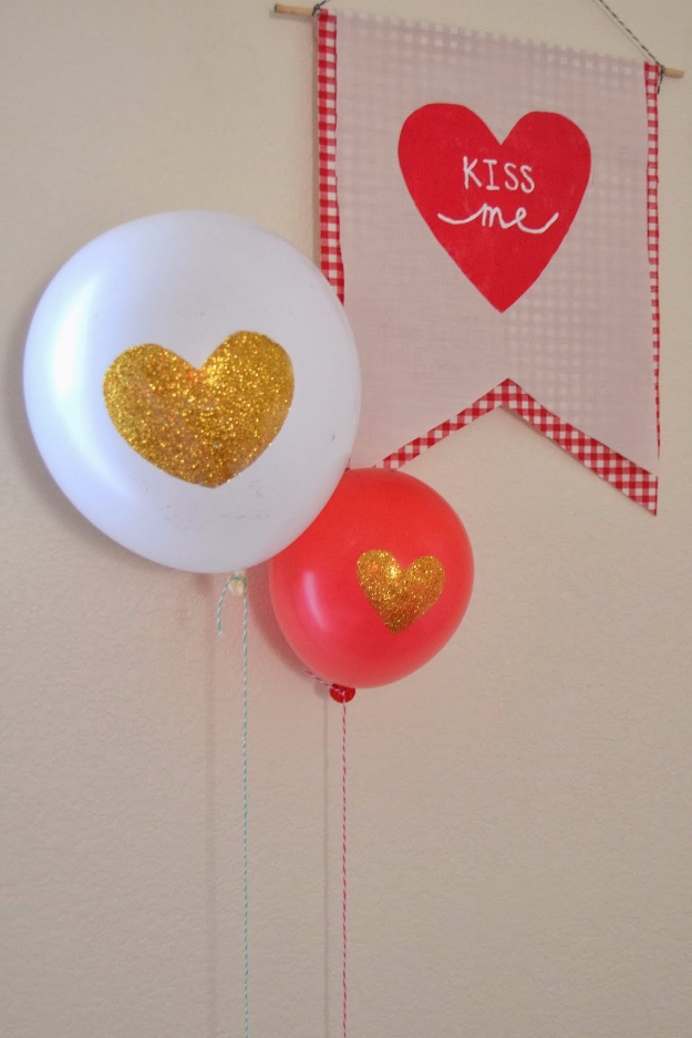 DIY Valentine Decor Ideas - Glitter Heart Balloon - Cute and Easy Home Decor Projects for Valentines Day Decorating - Best Homemade Valentine Decorations for Home, Tables and Party, Kids and Outdoor - Romantic Vintage Ideas - Cheap Dollar Store and Dollar Tree Crafts