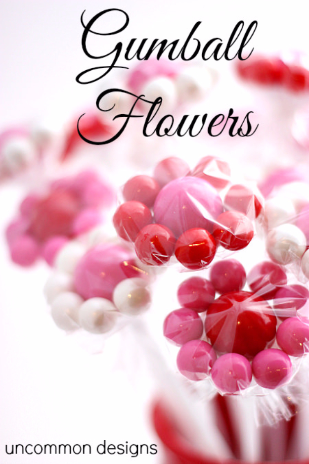 DIY Valentine Decor Ideas - Gumball Flowers - Cute and Easy Home Decor Projects for Valentines Day Decorating - Best Homemade Valentine Decorations for Home, Tables and Party, Kids and Outdoor - Romantic Vintage Ideas - Cheap Dollar Store and Dollar Tree Crafts
