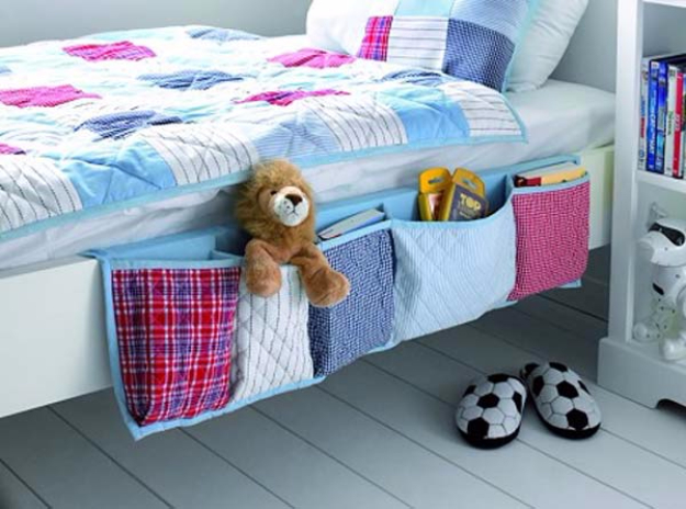 DIY Organizing Ideas for Kids Rooms - Hanging Bed Organizer - Easy Storage Projects for Boy and Girl Room - Step by Step Tutorials to Get Toys, Books, Baby Gear, Games and Clothes Organized #diy #kids #organizing