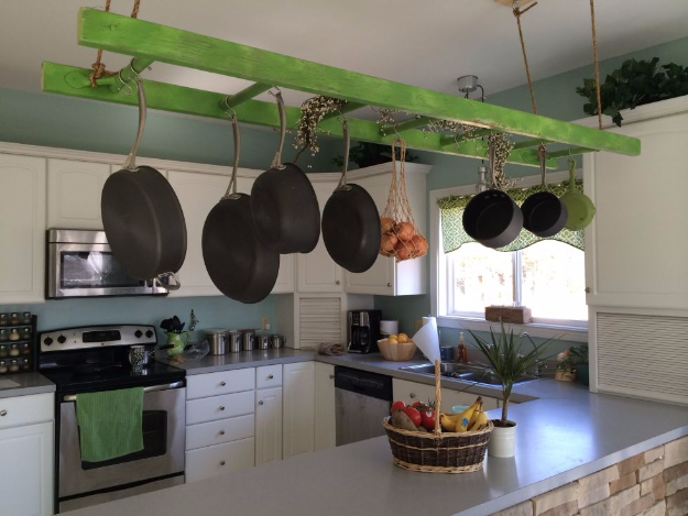 DIY Organizing Ideas for Kitchen - Hanging Ladder Pot Rack - Cheap and Easy Ways to Get Your Kitchen Organized - Dollar Tree Crafts, Space Saving Ideas - Pantry, Spice Rack, Drawers and Shelving - Home Decor Projects for Men and Women http://diyjoy.com/diy-organizing-ideas-kitchen