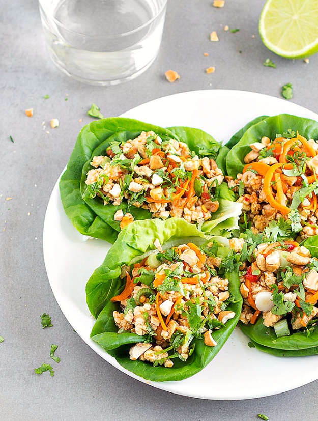 Quick and Healthy Dinner Recipes - Healthy Asian Chicken Lettuce Wraps - Easy and Fast Recipe Ideas for Dinners at Home - Chicken, Beef, Ground Meat, Pasta and Vegetarian Options - Cheap Dinner Ideas for Family, for Two , for Last Minute Cooking #recipes #healthyrecipes