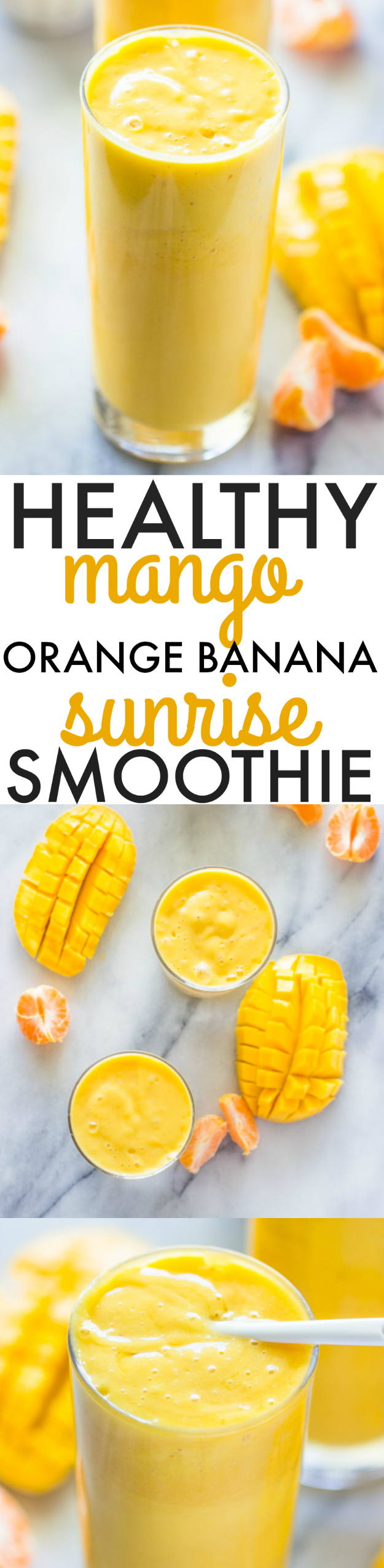 Healthy Smoothie Recipes - Healthy Mango Orange Banana Sunrise Smoothie - Easy ideas perfect for breakfast, energy. Low calorie and high protein recipes for weightloss and to lose weight. Simple homemade recipe ideas that kids love. Quick EASY morning recipes before work and school, after workout #smoothies #healthy #smoothie #healthyrecipes #recipes