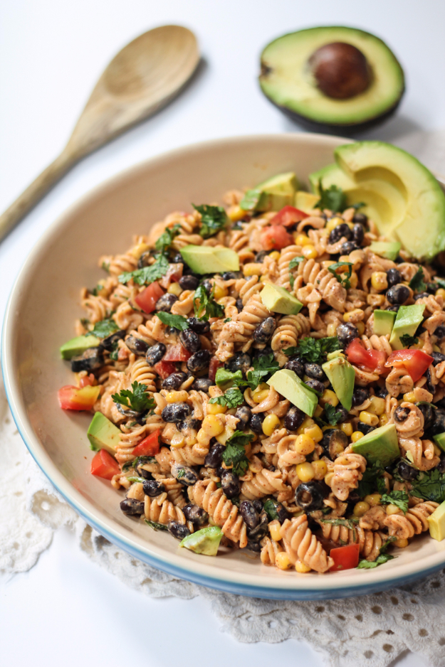 Healthy Lunch Ideas for Work - Healthy Southwest Pasta Salad with Chipotle-Lime Greek Yogurt Dressing - Quick and Easy Recipes You Can Pack for Lunches at the Office - Lowfat and Simple Ideas for Eating on the Job - Microwave, No Heat, Mason Jar Salads, Sandwiches, Wraps, Soups and Bowls