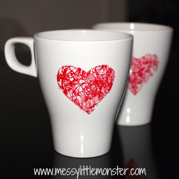 Best DIY Valentines Day Gifts - Heart Scribble Mug - Cute Mason Jar Valentines Day Gifts and Crafts for Him and Her | Boyfriend, Girlfriend, Mom and Dad, Husband or Wife, Friends - Easy DIY Ideas for Valentines Day for Homemade Gift Giving and Room Decor | Creative Home Decor and Craft Projects for Teens, Teenagers, Kids and Adults http://diyjoy.com/diy-valentines-day-gift-ideas