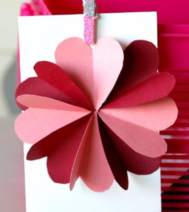 DIY Valentines Day Cards - Hearts Flower Card - Easy Handmade Cards for Him and Her, Kids, Freinds and Teens - Funny, Romantic, Printable Ideas for Making A Unique Homemade Valentine Card - Step by Step Tutorials and Instructions for Making Cute Valentine's Day Gifts #valentines