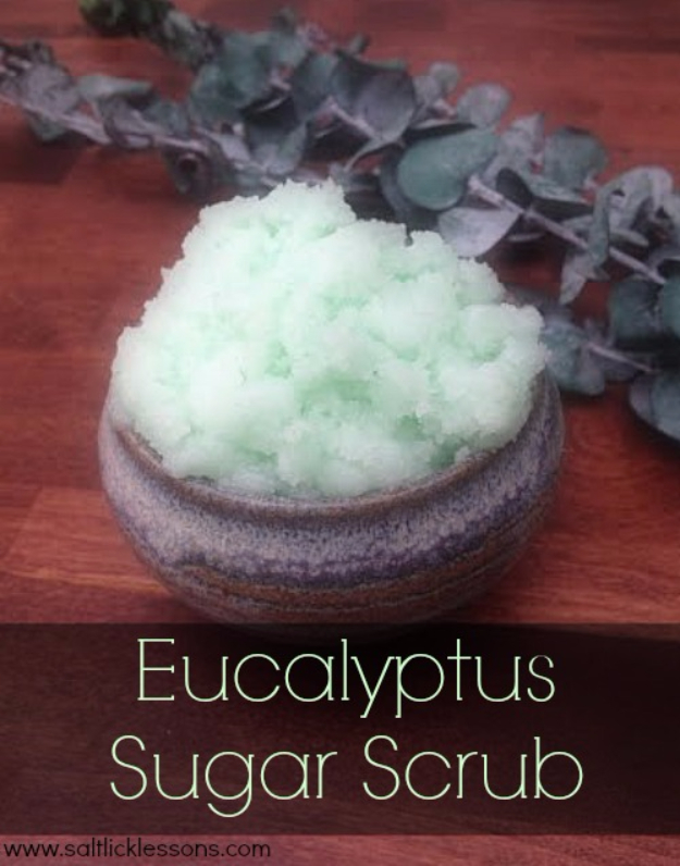 DIY Sugar Scrub Recipes - Homemade Eucalyptus Sugar Scrub - Easy and Quick Beauty Products You Can Make at Home - Cool and Cheap DIY Gift Ideas for Homemade Presents Women, Girls and Teens Love - Natural Recipe Ideas for Making Sugar Scrub With Step by Step Tutorials