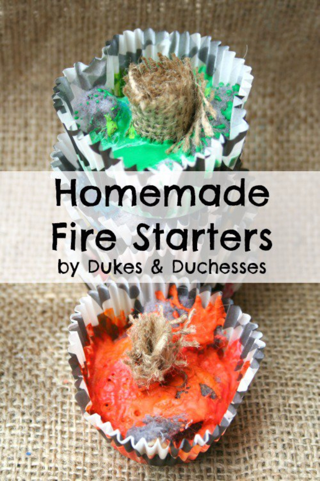 DIY Camping Hacks - Homemade Fire Starters - Easy Tips and Tricks, Recipes for Camping - Gear Ideas, Cheap Camping Supplies, Tutorials for Making Quick Camping Food, Fire Starters, Gear Holders #diy #camping