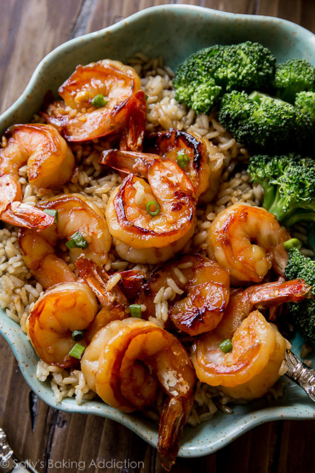 Quick and Healthy Dinner Recipes - Honey Garlic Shrimp - Easy and Fast Recipe Ideas for Dinners at Home - Chicken, Beef, Ground Meat, Pasta and Vegetarian Options - Cheap Dinner Ideas for Family, for Two , for Last Minute Cooking #recipes #healthyrecipes