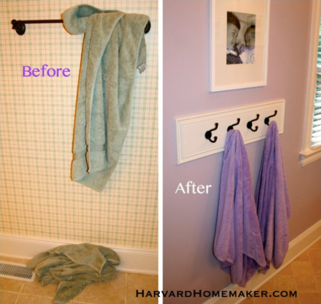 Best Organizing Ideas for the New Year - Hooks Instead Of Towel Bar - Resolutions for Getting Organized - DIY Organizing Projects for Home, Bedroom, Closet, Bath and Kitchen - Easy Ways to Organize Shoes, Clutter, Desk and Closets - DIY Projects and Crafts for Women and Men