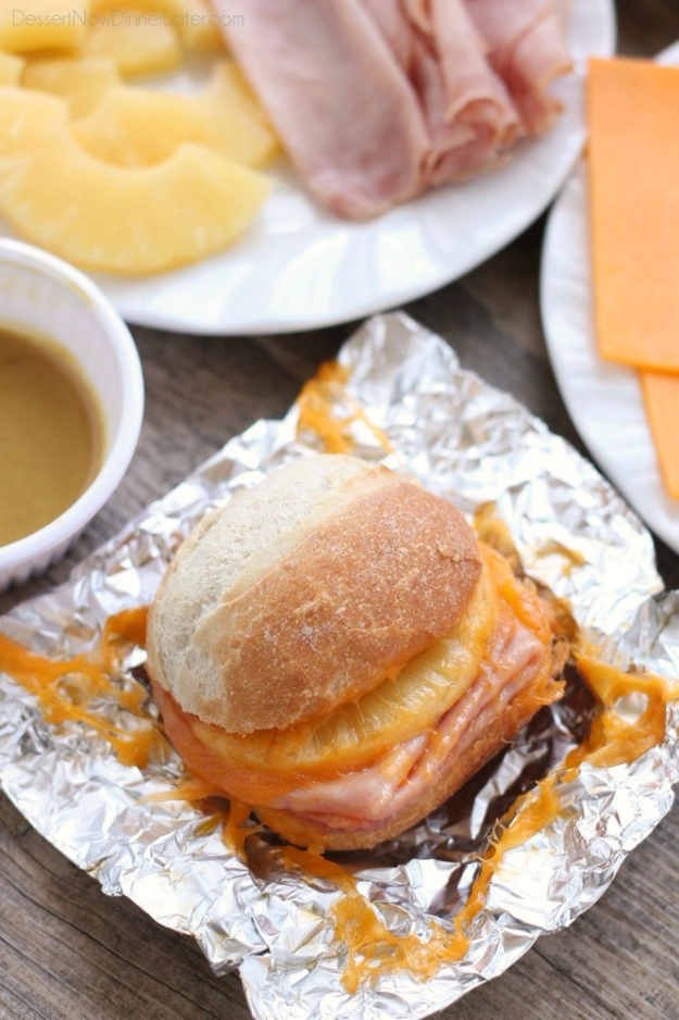 DIY Tin Foil Camping Recipes - Hot Ham and Pineapple Campfire Sandwiches - Tin Foil Dinners, Ideas for Camping Trips healthy Easy Make Ahead Recipe Ideas for the Campfire. Breakfast, Lunch, Dinner and Dessert, #recipes #camping