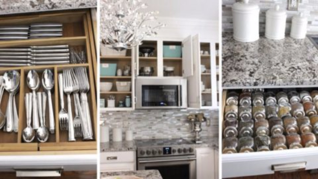 DIY Organizing Ideas for Kitchen - Incredible Organizing Tips For The Kitchen - Cheap and Easy Ways to Get Your Kitchen Organized - Dollar Tree Crafts, Space Saving Ideas - Pantry, Spice Rack, Drawers and Shelving - Home Decor Projects for Men and Women http://diyjoy.com/diy-organizing-ideas-kitchen