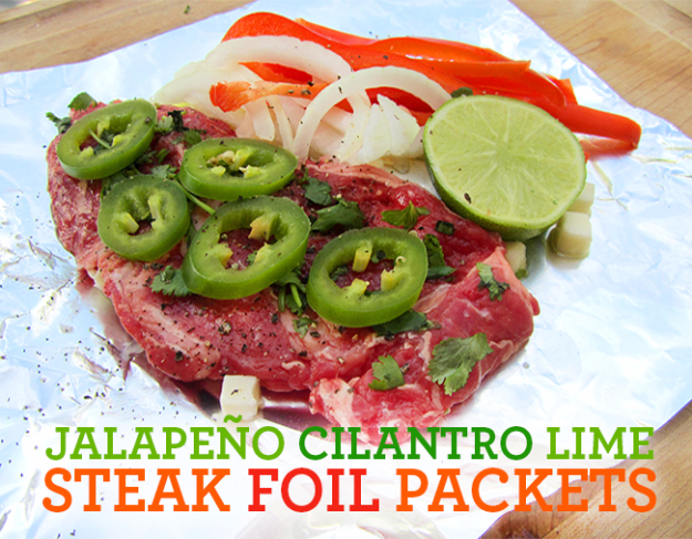 DIY Tin Foil Camping Recipes - Jalape+¦o Cilantro Lime Steak Foil Packets- Tin Foil Dinners, Ideas for Camping Trips healthy Easy Make Ahead Recipe Ideas for the Campfire. Breakfast, Lunch, Dinner and Dessert, #recipes #camping