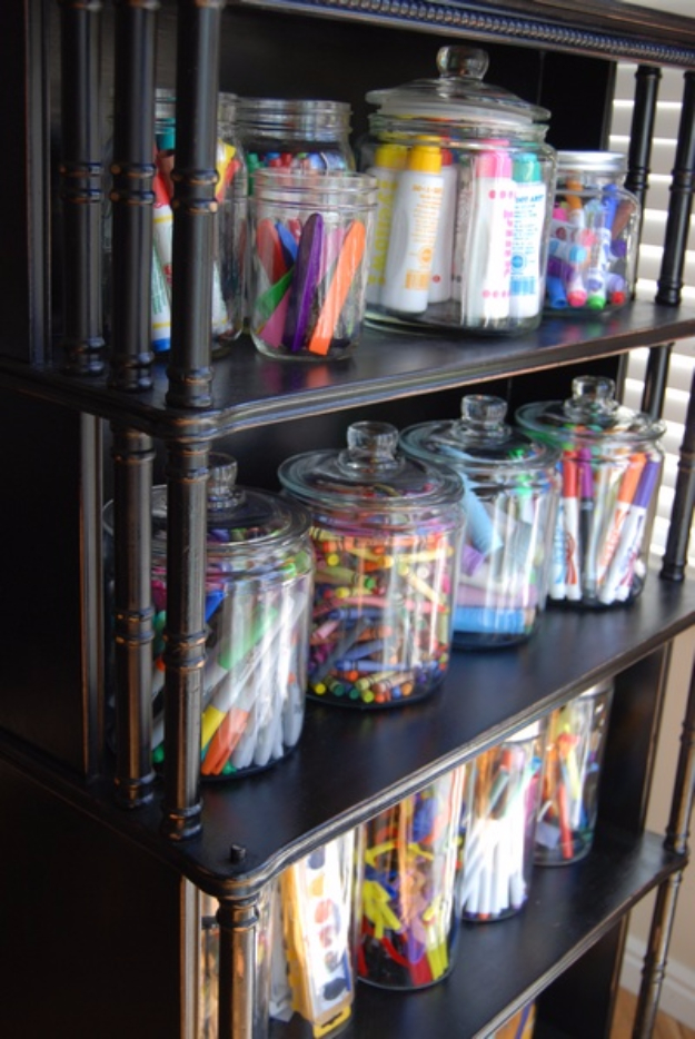 DIY Organizing Ideas for Kids Rooms - Jar Storage For Art Materials - Easy Storage Projects for Boy and Girl Room - Step by Step Tutorials to Get Toys, Books, Baby Gear, Games and Clothes Organized #diy #kids #organizing