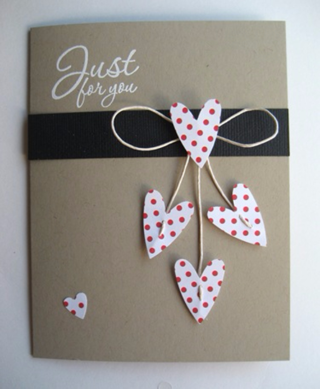 DIY Valentines Day Cards - Just For You Valentine's Card - Easy Handmade Cards for Him and Her, Kids, Freinds and Teens - Funny, Romantic, Printable Ideas for Making A Unique Homemade Valentine Card - Step by Step Tutorials and Instructions for Making Cute Valentine's Day Gifts #valentines