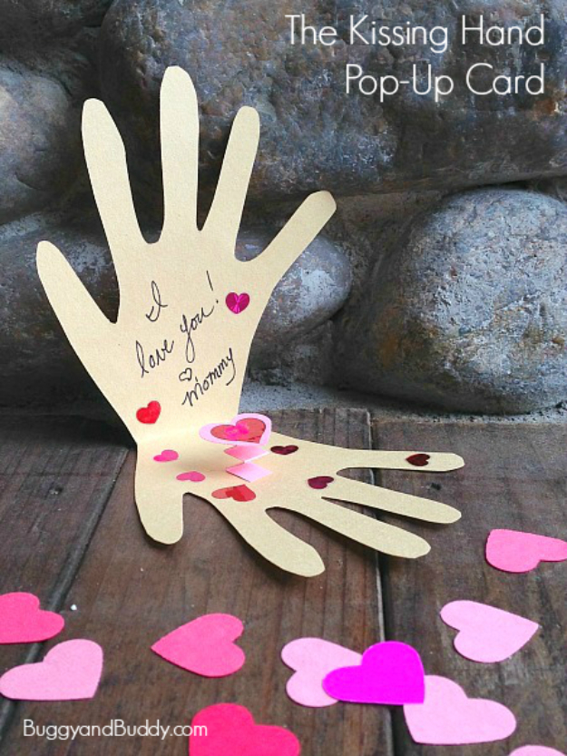 DIY Valentines Day Cards - Kissing Hand Pop Up Card - Easy Handmade Cards for Him and Her, Kids, Freinds and Teens - Funny, Romantic, Printable Ideas for Making A Unique Homemade Valentine Card - Step by Step Tutorials and Instructions for Making Cute Valentine's Day Gifts #valentines