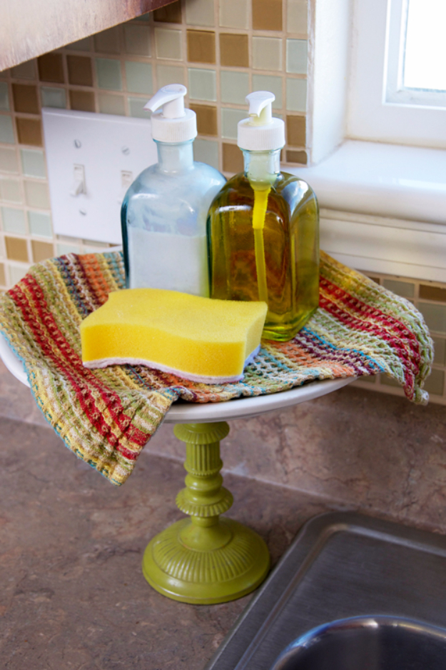 DIY Organizing Ideas for Kitchen - Kitchen Dish Soap Cake Stand - Cheap and Easy Ways to Get Your Kitchen Organized - Dollar Tree Crafts, Space Saving Ideas - Pantry, Spice Rack, Drawers and Shelving - Home Decor Projects for Men and Women #diykitchen #organizing #diyideas #diy