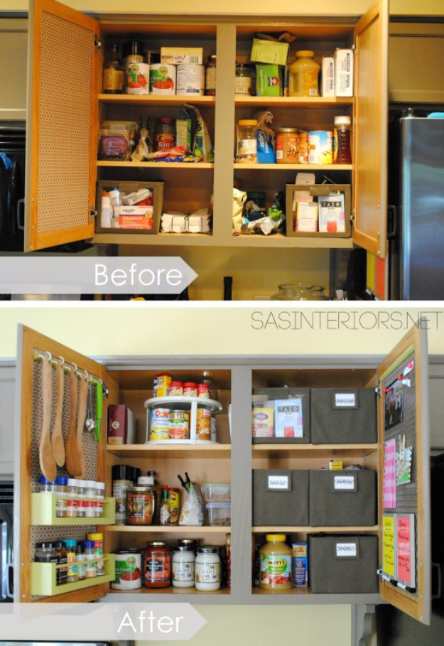 DIY Organizing Ideas for Kitchen - Kitchen Organization Inside The Cabinet Doors - Cheap and Easy Ways to Get Your Kitchen Organized - Dollar Tree Crafts, Space Saving Ideas - Pantry, Spice Rack, Drawers and Shelving - Home Decor Projects for Men and Women http://diyjoy.com/diy-organizing-ideas-kitchen