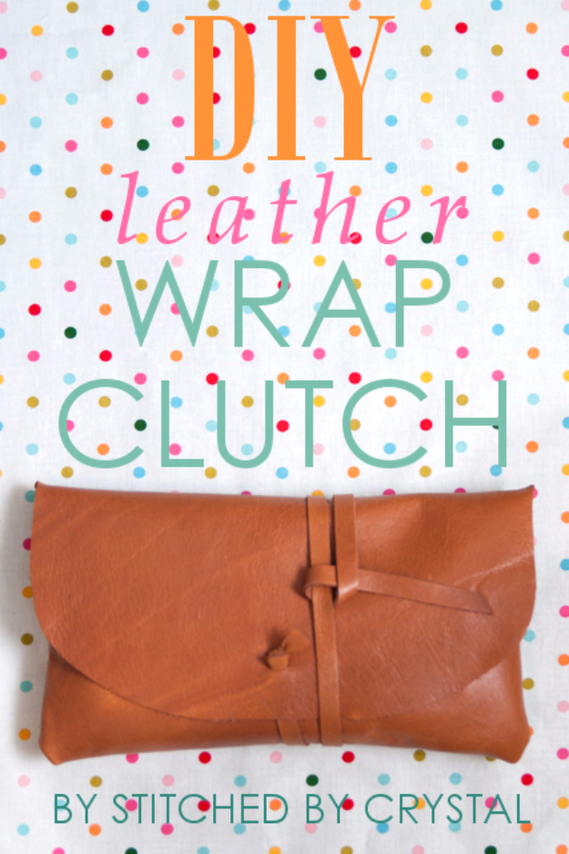DIY Purses and Handbags - Leather Wrap Clutch - Homemade Projects to Decorate and Make Purses - Add Paint, Glitter, Buttons and Bling To Your Hand Bags and Purse With These Easy Step by Step Tutorials - Boho, Modern, and Cool Fashion Ideas for Women and Teens #purses #diyclothes #handbags