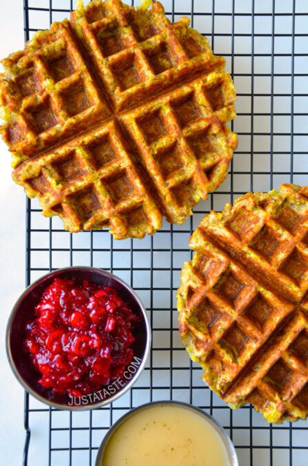 Waffle Iron Hacks and Easy Recipes for Waffle Irons - Leftover Stuffing Waffles - Quick Ways to Make Healthy Meals in a Waffle Maker - Breakfast, Dinner, Lunch, Dessert and Snack Ideas - Homemade Pizza, Cinnamon Rolls, Egg, Low Carb, Sandwich, Bisquick, Savory Recipes and Biscuits #diy #waffle #hacks