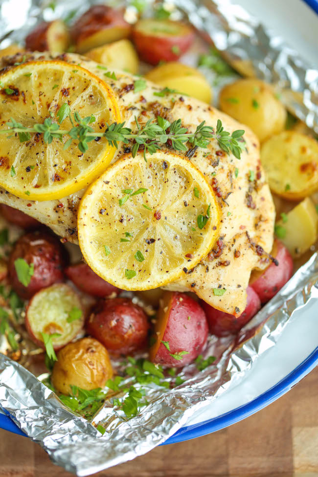 DIY Tin Foil Camping Recipes - Lemon Chicken And Potatoes In Foil - Tin Foil Dinners, Ideas for Camping Trips and On Grill. Hamburger, Chicken, Healthy, Fish, Steak , Easy Make Ahead Recipe Ideas for the Campfire. Breakfast, Lunch, Dinner and Dessert, Snacks all Wrapped in Foil for Quick Cooking http://diyjoy.com/camping-recipes-tin-foil