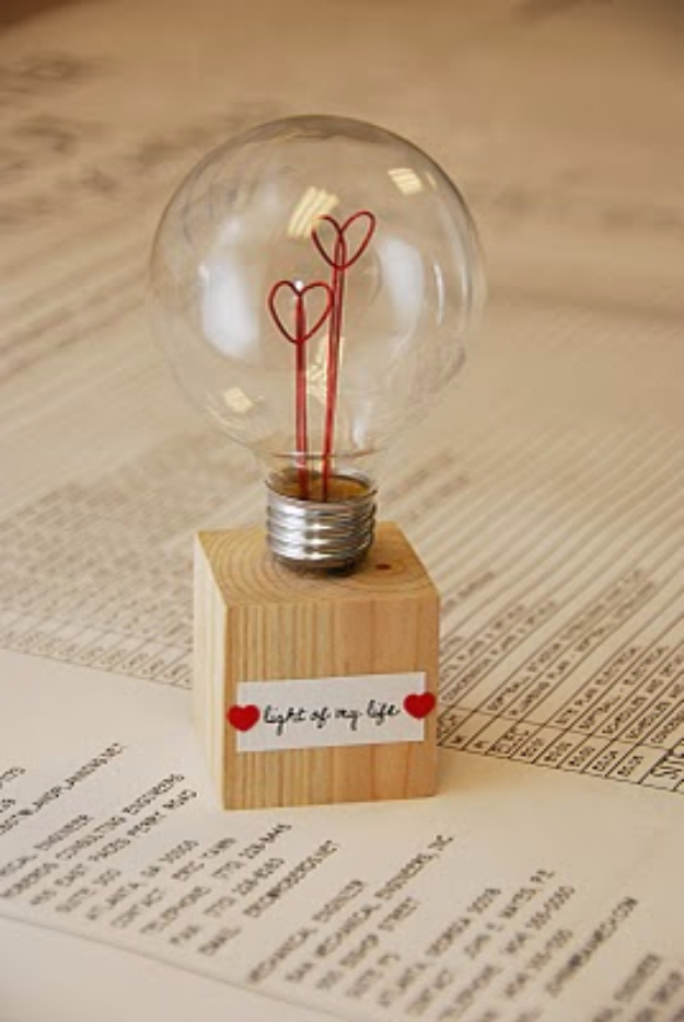 Best DIY Valentines Day Gifts - Light Of My Life Lamp - Cute Mason Jar Valentines Day Gifts and Crafts for Him and Her | Boyfriend, Girlfriend, Mom and Dad, Husband or Wife, Friends - Easy DIY Ideas for Valentines Day for Homemade Gift Giving and Room Decor | Creative Home Decor and Craft Projects for Teens, Teenagers, Kids and Adults