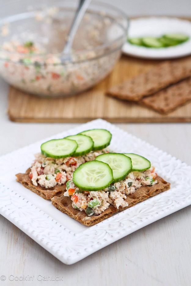 Healthy Lunch Ideas for Work - Low Fat Salmon Salad Sandwich With Capers - Quick and Easy Recipes You Can Pack for Lunches at the Office - Lowfat and Simple Ideas for Eating on the Job - Microwave, No Heat, Mason Jar Salads, Sandwiches, Wraps, Soups and Bowls http://diyjoy.com/healthy-lunch-ideas-work