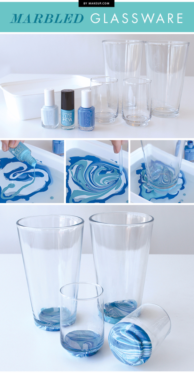 DIY Nail Polish Crafts - Marbled Glassware - Easy and Cheap Craft Ideas for Girls, Teens, Tweens and Adults | Fun and Cool DIY Projects You Can Make With Fingernail Polish - Do It Yourself Wire Flowers, Glue Gun Craft Projects and Jewelry Made From nailpolish - Water Marble Tutorials and How To With Step by Step Instructions s