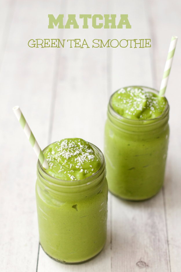 Healthy Smoothie Recipes - Matcha Green Tea Smoothie - Easy ideas perfect for breakfast, energy. Low calorie and high protein recipes for weightloss and to lose weight. Simple homemade recipe ideas that kids love. Quick EASY morning recipes before work and school, after workout #smoothies #healthy #smoothie #healthyrecipes #recipes