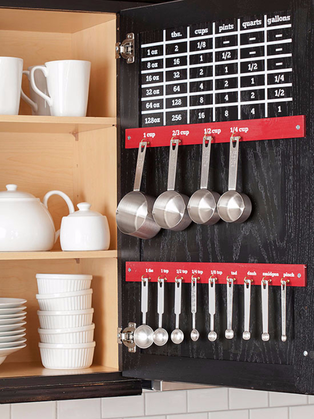 DIY Organizing Ideas for Kitchen - Measurement Conversion Chart - Cheap and Easy Ways to Get Your Kitchen Organized - Dollar Tree Crafts, Space Saving Ideas - Pantry, Spice Rack, Drawers and Shelving - Home Decor Projects for Men and Women http://diyjoy.com/diy-organizing-ideas-kitchen
