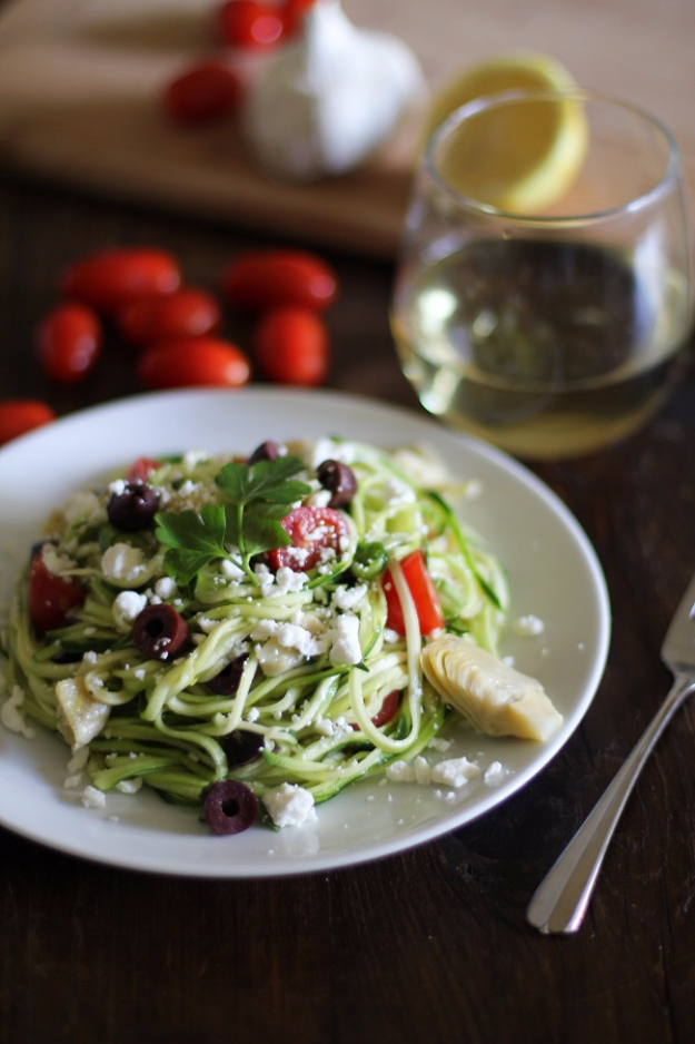 Healthy Lunch Ideas for Work - Mediterranean Zucchini Noodle Pasta - Quick and Easy Recipes You Can Pack for Lunches at the Office - Lowfat and Simple Ideas for Eating on the Job - Microwave, No Heat, Mason Jar Salads, Sandwiches, Wraps, Soups and Bowls
