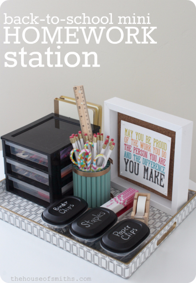Best Organizing Ideas for the New Year - Mini Homework Station - Resolutions for Getting Organized - DIY Organizing Projects for Home, Bedroom, Closet, Bath and Kitchen - Easy Ways to Organize Shoes, Clutter, Desk and Closets - DIY Projects and Crafts for Women and Men