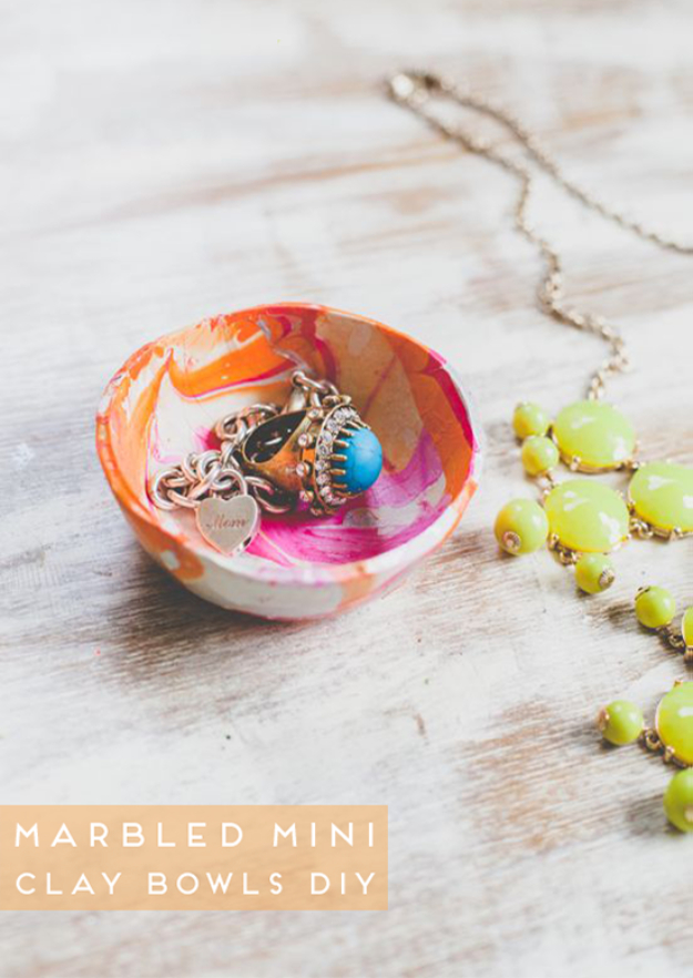 DIY Nail Polish Crafts - Mini Marbled Decorative Bowls - Easy and Cheap Craft Ideas for Girls, Teens, Tweens and Adults | Fun and Cool DIY Projects You Can Make With Fingernail Polish - Do It Yourself Wire Flowers, Glue Gun Craft Projects and Jewelry Made From nailpolish - Water Marble Tutorials and How To With Step by Step Instructions http://diyjoy.com/nail-polish-crafts