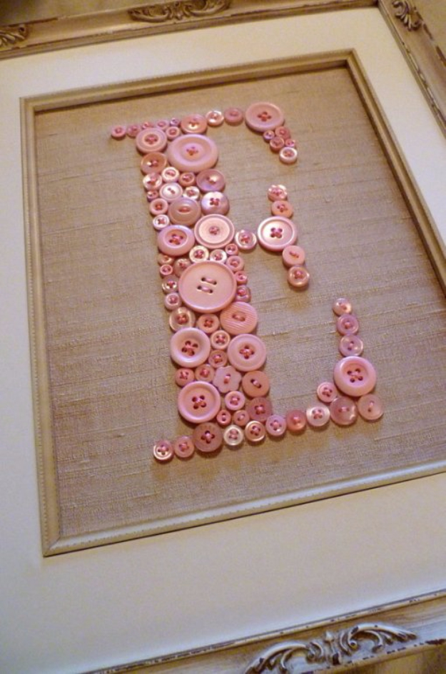 DIY Projects and Crafts Made With Buttons - Monogram Button Wall Art - Easy and Quick Projects You Can Make With Buttons - Cool and Creative Crafts, Sewing Ideas and Homemade Gifts for Women, Teens, Kids and Friends - Home Decor, Fashion and Cheap, Inexpensive Fun Things to Make on A Budget