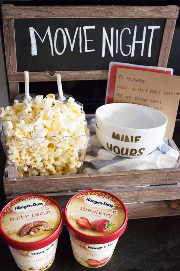 DIY Date Night Ideas - Movie Night Date Crate - Creative Ways to Go On Inexpensive Dates - Creative Ways for Couples to Spend Time Together creative date nights diy idea