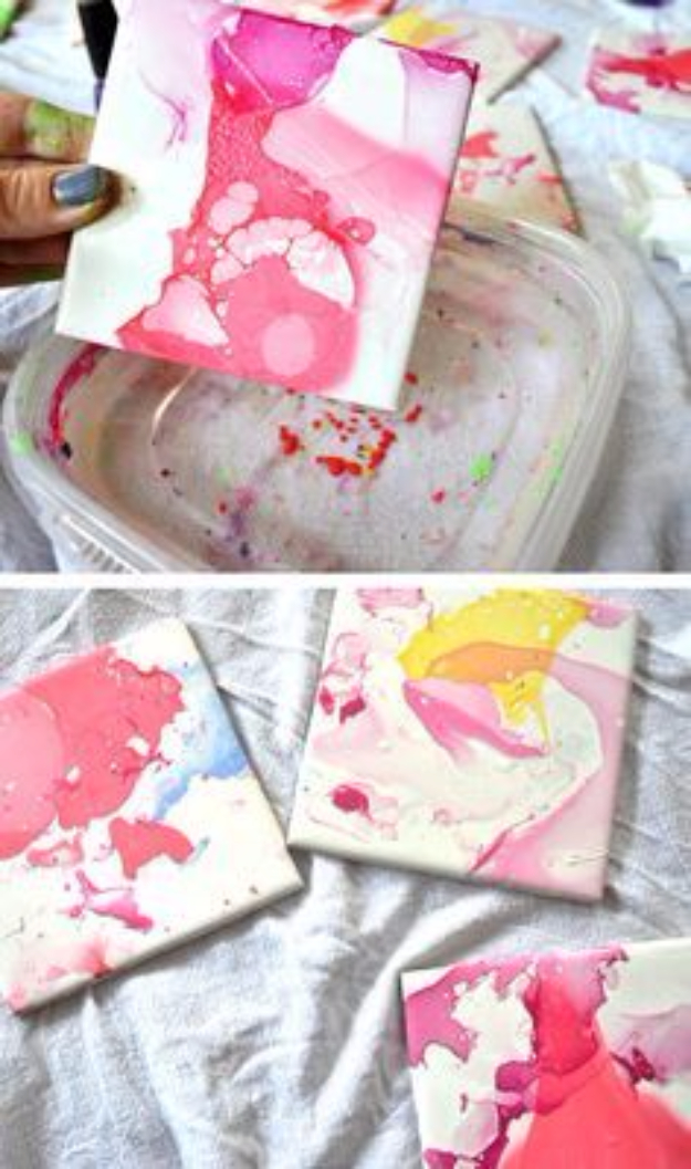 DIY Nail Polish Crafts - Nail Polish Ceramic Tile Crafts - Easy and Cheap Craft Ideas for Girls, Teens, Tweens and Adults | Fun and Cool DIY Projects You Can Make With Fingernail Polish - Do It Yourself Wire Flowers, Glue Gun Craft Projects and Jewelry Made From nailpolish - Water Marble Tutorials and How To With Step by Step Instructions s