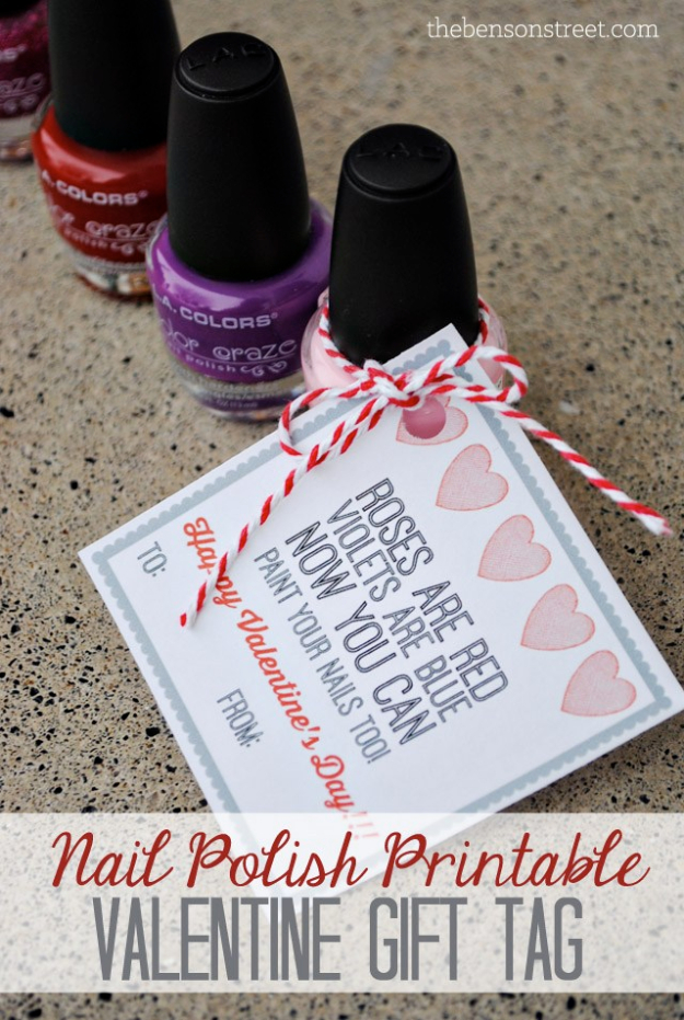 DIY Nail Polish Crafts - Nail Polish Valentine Gift Tag - Easy and Cheap Craft Ideas for Girls, Teens, Tweens and Adults | Fun and Cool DIY Projects You Can Make With Fingernail Polish - Do It Yourself Wire Flowers, Glue Gun Craft Projects and Jewelry Made From nailpolish - Water Marble Tutorials and How To With Step by Step Instructions s