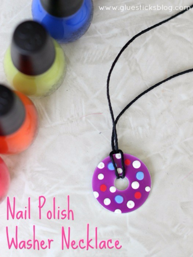 DIY Nail Polish Crafts - Nail Polish Washer Necklace - Easy and Cheap Craft Ideas for Girls, Teens, Tweens and Adults | Fun and Cool DIY Projects You Can Make With Fingernail Polish - Do It Yourself Wire Flowers, Glue Gun Craft Projects and Jewelry Made From nailpolish - Water Marble Tutorials and How To With Step by Step Instructions s