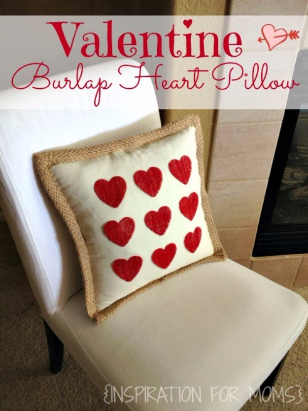 Best DIY Valentines Day Gifts - No-Sew Burlap Valentine Heart Pillow - Cute Mason Jar Valentines Day Gifts and Crafts for Him and Her | Boyfriend, Girlfriend, Mom and Dad, Husband or Wife, Friends - Easy DIY Ideas for Valentines Day for Homemade Gift Giving and Room Decor | Creative Home Decor and Craft Projects for Teens, Teenagers, Kids and Adults
