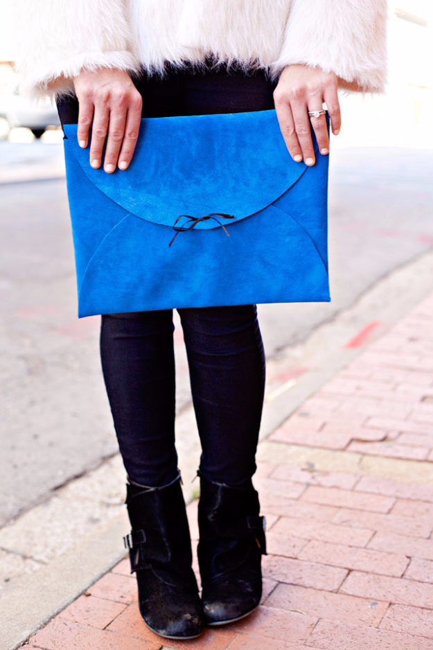 DIY Purses and Handbags - No Sew Leather Envelope Clutch - Homemade Projects to Decorate and Make Purses - Add Paint, Glitter, Buttons and Bling To Your Hand Bags and Purse With These Easy Step by Step Tutorials - Boho, Modern, and Cool Fashion Ideas for Women and Teens #purses #diyclothes #handbags