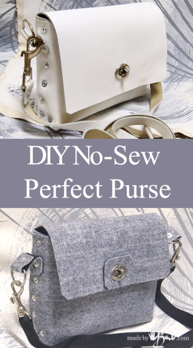 DIY Purses and Handbags - No-Sew Perfect Little Purse - Homemade Projects to Decorate and Make Purses - Add Paint, Glitter, Buttons and Bling To Your Hand Bags and Purse With These Easy Step by Step Tutorials - Boho, Modern, and Cool Fashion Ideas for Women and Teens #purses #diyclothes #handbags