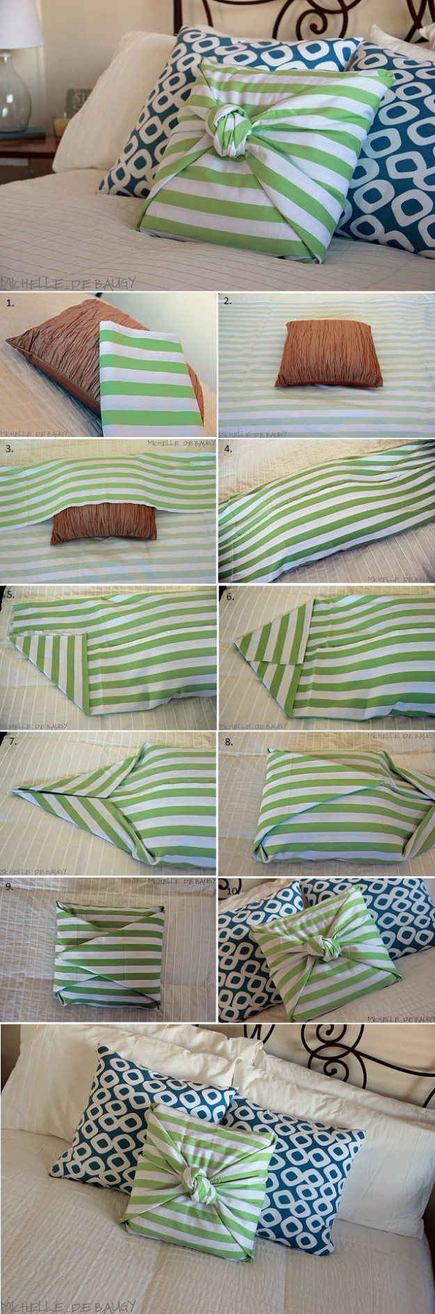 DIY Pillowcases - No Sew Pillow Case GÇô DIY - Easy Sewing Projects for Pillows - Bedroom and Home Decor Ideas - Sewing Patterns and Tutorials - No Sew Ideas - DIY Projects and Crafts for Women #sewing #diydecor #pillows