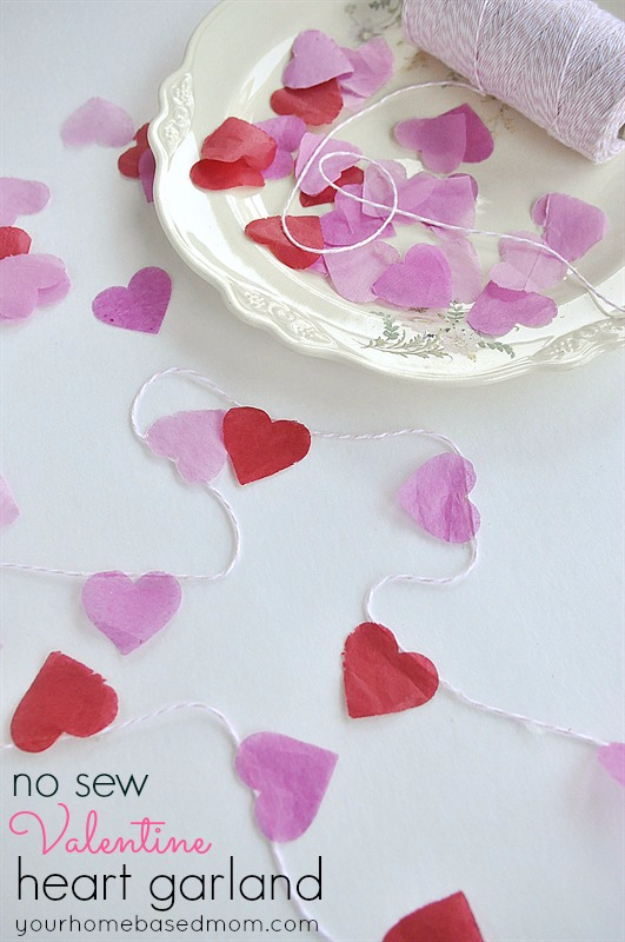 DIY Valentine Decor Ideas - No Sew Valentine Heart Garland - Cute and Easy Home Decor Projects for Valentines Day Decorating - Best Homemade Valentine Decorations for Home, Tables and Party, Kids and Outdoor - Romantic Vintage Ideas - Cheap Dollar Store and Dollar Tree Crafts