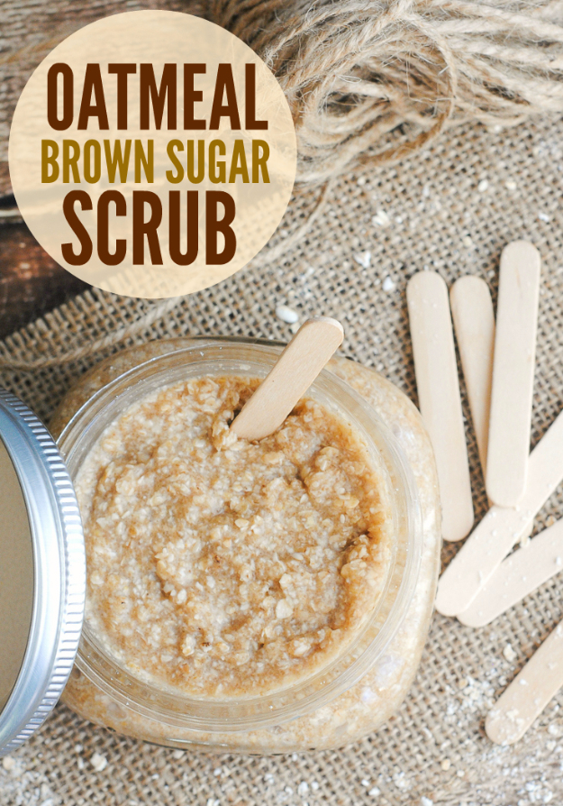 DIY Sugar Scrub Recipes - Oatmeal Brown Sugar Scrub - Easy and Quick Beauty Products You Can Make at Home - Cool and Cheap DIY Gift Ideas for Homemade Presents Women, Girls and Teens Love - Natural Recipe Ideas for Making Sugar Scrub With Step by Step Tutorials