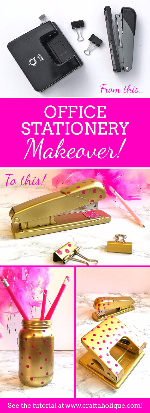 DIY Nail Polish Crafts - Office Stationery Makeover - Easy and Cheap Craft Ideas for Girls, Teens, Tweens and Adults | Fun and Cool DIY Projects You Can Make With Fingernail Polish - Do It Yourself Wire Flowers, Glue Gun Craft Projects and Jewelry Made From nailpolish - Water Marble Tutorials and How To With Step by Step Instructions s
