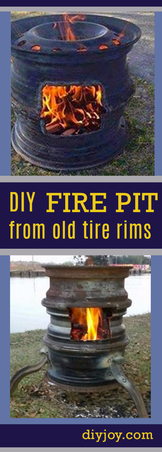 DIY Ideas for the Outdoors - Old Tire Rims Make For The Best DIY Fire Pits - Best Do It Yourself Ideas for Yard Projects, Camping, Patio and Spending Time in Garden and Outdoors - Step by Step Tutorials and Project Ideas for Backyard Fun, Cooking and Seating #diy
