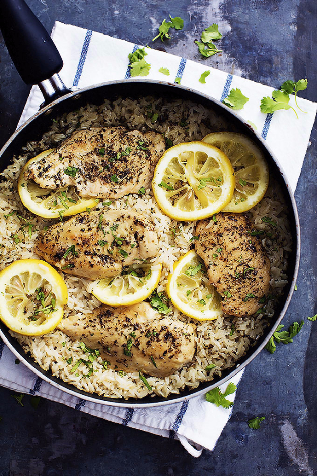 Quick and Healthy Dinner Recipes - One Pot Lemon Herb Chicken And Rice - Easy and Fast Recipe Ideas for Dinners at Home - Chicken, Beef, Ground Meat, Pasta and Vegetarian Options - Cheap Dinner Ideas for Family, for Two , for Last Minute Cooking http://diyjoy.com/quick-healthy-dinner-recipes