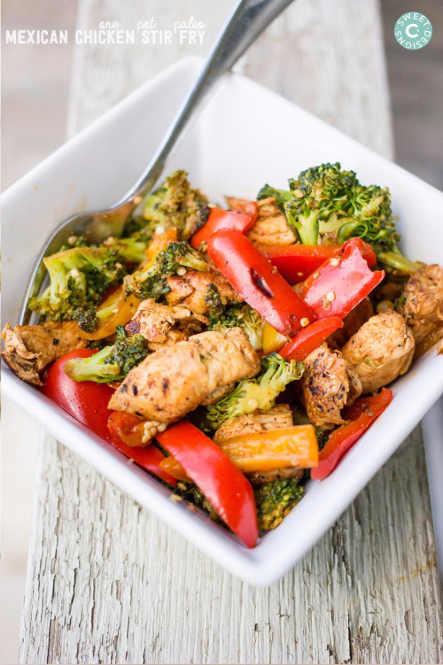 Quick and Healthy Dinner Recipes - One Pot Paleo Mexican Chicken Stir Fry - Easy and Fast Recipe Ideas for Dinners at Home - Chicken, Beef, Ground Meat, Pasta and Vegetarian Options - Cheap Dinner Ideas for Family, for Two , for Last Minute Cooking #recipes #healthyrecipes