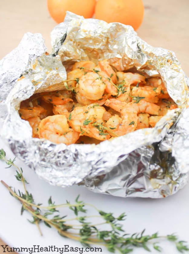 DIY Tin Foil Camping Recipes - Orange Thyme Grilled Shrimp In Foil Packets - Tin Foil Dinners, Ideas for Camping Trips healthy Easy Make Ahead Recipe Ideas for the Campfire. Breakfast, Lunch, Dinner and Dessert, #recipes #camping