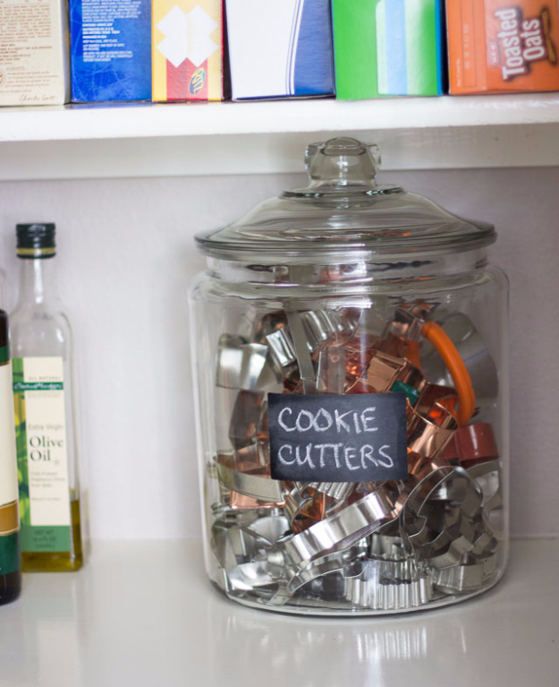 DIY Organizing Ideas for Kitchen - Organize Cookie Cutters In A Jar - Cheap and Easy Ways to Get Your Kitchen Organized - Dollar Tree Crafts, Space Saving Ideas - Pantry, Spice Rack, Drawers and Shelving - Home Decor Projects for Men and Women http://diyjoy.com/diy-organizing-ideas-kitchen