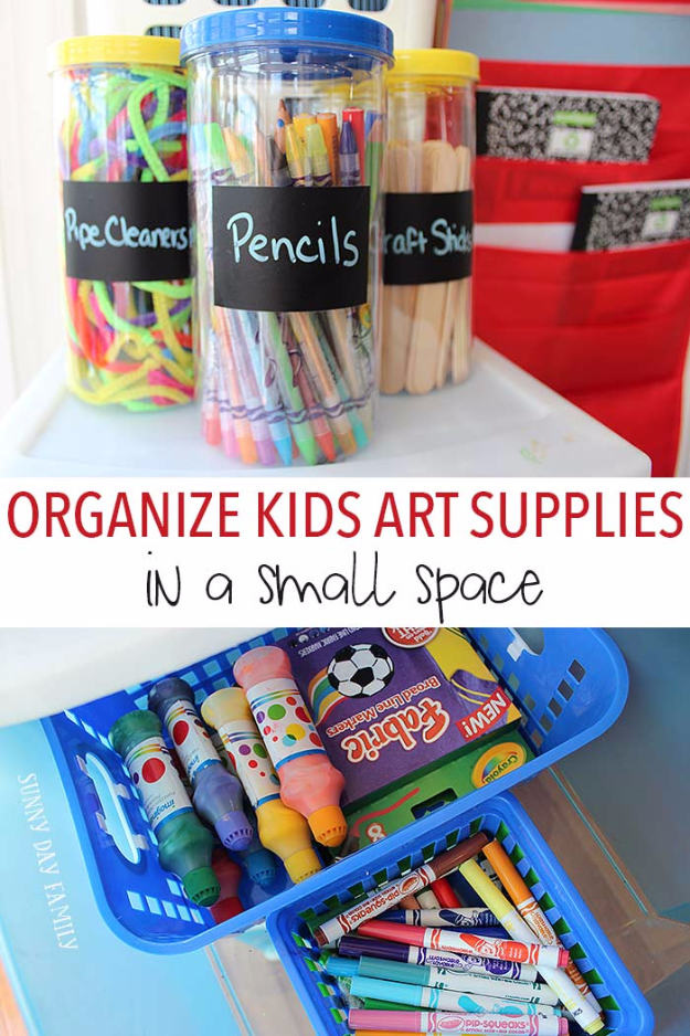 DIY Organizing Ideas for Kids Rooms - Organize Kids Art Supplies - Easy Storage Projects for Boy and Girl Room - Step by Step Tutorials to Get Toys, Books, Baby Gear, Games and Clothes Organized #diy #kids #organizing